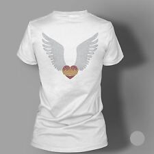 Women's Rhinestone Heart Wings Crown Diamante T Shirt