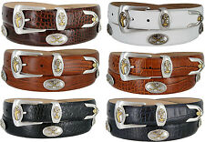 Bayside - Genuine Leather Italian Calfskin Designer Dress belt with Golf Conchos