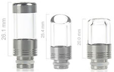 Clear Pyrex 510 Drip Tip - FLAT or SLANT - for Atomizer, Clearomizer, Cartomizer