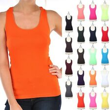 Seamless Racerback Active Tank Top Sleeveless Good Stretch Poly Spandex ONE SIZE