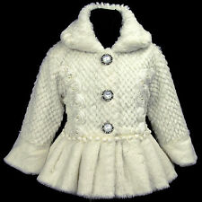 Cream/Beige/Ivory i216 s1 UkG Casual Birthday Party Faux Fur Girls Coat 2,3-7y
