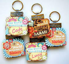 PERSONALISED PERSONALITY  KEYRING BOOK NAMES INITIALS A- W GUYS GIFT NEW