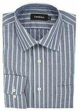 Ex Store Easycare Long Sleeved Shirt with Breast Pocket Grey Blue Stripe