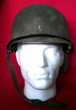 US ARMY WW2 M1 STYLE HELMET WITH INSERT AND CHIN STRAP WITH DENTS FROM USE