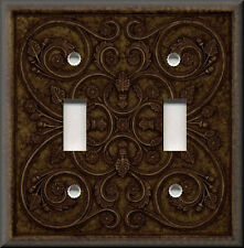 Switch Plates And Outlets - French Pattern Image - Bronze Brown - Home Decor