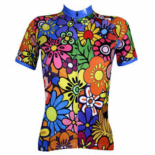 Womens Warm Flower Color Activewear Short Sleeve T-shirt Cycling Clothing Jersey