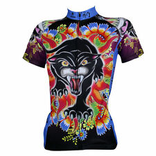 Women's Short Sleeve Bike Activewear Cycling Clothing Jersey Black Panther