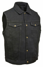 Mens Classic Front Snap Black Denim Vest with Shirt Collar & Gun Pockets