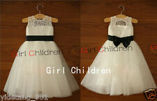 Simple Cute Princess Lace Tulle with sash and Bow Flower Girl Dress For Wedding