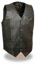 Mens Classic Snap Front Black Leather Biker Vest