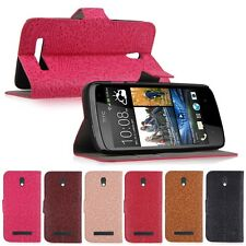 Hybrid Flip Wallet Card Slot PU Leather Hard Stand Case Cover for HTC Desire 500