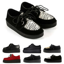 Lace Thick Crust  Platform UP Women's Flats Creepers Goth Punk Shoes Brand New