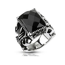 316L Stainless Steel Rectangle Onyx Faceted Stone Gothic Men's Ring Sz9 ~ Sz13