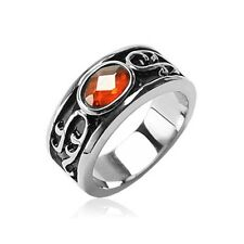 1 Pc 316L Surgical Stainless Steel W/ Amber Stone Men's Ring Chose Fr Sz9~Sz14