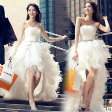 fashion women sexy short front long back tailing  plunging wedding dress A
