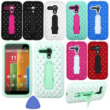 HYBRID Rubber BLING Phone Case Cover KickStand For Motorola Moto G Falcon + Tool