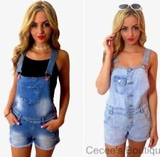 NEW WOMENS LADIES DENIM DUNGAREES PLAYSUIT FRAYED ALL IN ONE SHORTS (CI)
