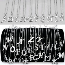SALE! A-Z INITIAL LETTER NAME PENDANT NECKLACE SILVER PLATED CRYSTAL W CHAIN NEW