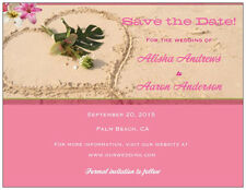 30 50 100 Personalized Custom Pink BEACH Save the DATE 5.5 x 4 MAGNETS & Env