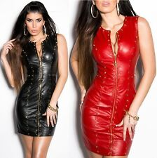 Sexy Faux Leather Mini Dress with Studs - S / M / L