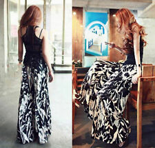 Hot Women's Vintage Printing Casual Wide Leg Long Pants Palazzo Waist Trousers