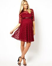 Asos Maternity Claret Lace Skater Belted Dress Size 6 8 10 12 14 16 New