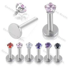 16G 316L Stainless Steel Round CZ Crystal Labret Lip Ring Stud Internal Thread