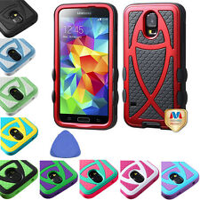 HYBRID Fish Scales Case Cover For Samsung Galaxy S5 S 5 G900 i9600 Phone + Tool