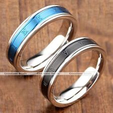 Men Women Stainless Steel Carved Roman Numerals Wedding Engagement Band Ring NEW