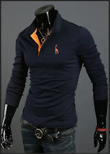 New Autumn Winter Casual Deer embroidery Long-sleeved men's Polo shirt