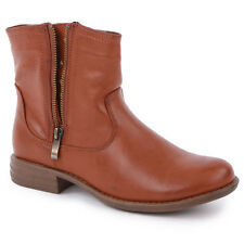 Phildon 2289814 Womens Zip Ankle Boos Synthetic Leather Brown New 3,4,5,6,7,8UK