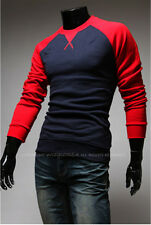 New Spring and Autumn Fashion Raglan Sleeve Long-sleeved Slim fit Men's T-shirt
