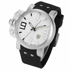 Salmon Shark Mens Military Over-sized Crown Analog Sport Silicone Quartz Watch