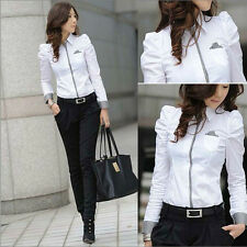 Feature Sleeve Office Lady White Shirt Size S-2XL New Women Career Blouse D1086