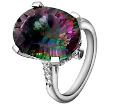 Bliss Womens Natural Mystic Topaz Sterling 925 Silver 9.42Ctww Engagement Ring