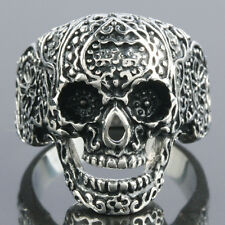 Size 8-13 Punk Biker Heavy Stainless Steel Skull Skeleton Head Men's Finger Ring