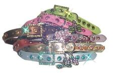 New Puppy Dog Cat Pet Rhinestone Bling Crystal Leather Collar with bone charm