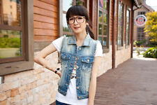 1pc Retro Washed Sleeveless Cardigan Jeans Denim Vest Waistcoat Coat Jacket NY64