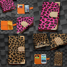 LUXURY LEOPARD CHEETAH WALLET BLING PROTECTIVE CASE FOR IPHONE 4 5S GALAXY S3 S4