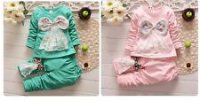 2PC baby girls outwear+long  pants Set Clothes cute bowknot  size:1-4 years