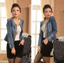New Fashion Women Ladies Beads Jean Denim Jacket Outwear Long Sleeve Short Coat