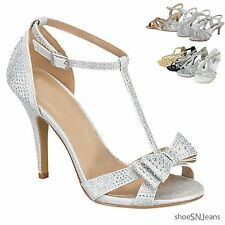 New Women Rhinestone Platform Pumps Sandal Prom Wedding Kitten Heel Party Shoes