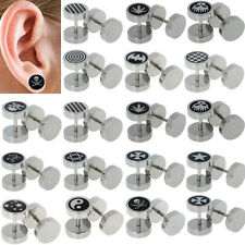 2X Stainless Steel Fake Cheater Ear Plugs Gauge Illusion Body Jewelry Pierceing