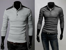 New Men's Stand Collar Y-Neck Long Sleeve Dress Casual Slim Fit T-shirt Tee Tops