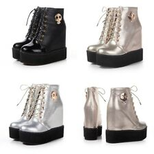 Super fashion shiny Hiden wedge heels lace Up Sport high top sneakers ankle boot