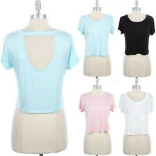 Plain Short Sleeve Open Back Hole Cropped Top Round Neck Cute Rayon Span S M L
