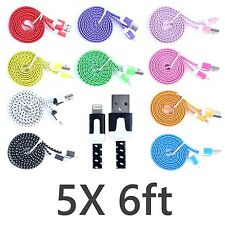 5X FLAT 6ft Braided 8 pin USB Sync Charger Cable iphone 5 5s 5c ipod touch Nano