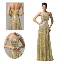 2014 SALE Sequins Long Wedding Party Gown Bridal Prom Bridesmaid Evening Dresses