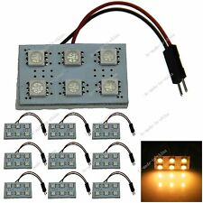 10pcs Yellow 6 5050 SMD LED Festoon Dome/Door/Box Light Panel Interior Bulb J001