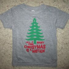 kids all i want for christmas is a mustache xmas funny cute boys youth t shirt